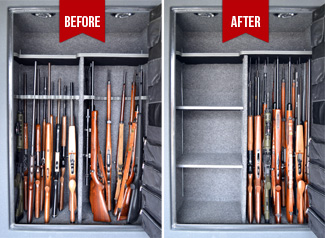 Gun Safe Before and After Rifle Rods