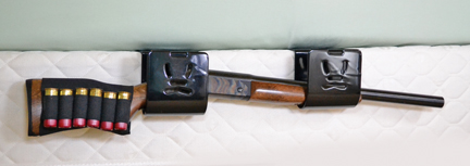 Bedside Shotgun Bracket on Bed